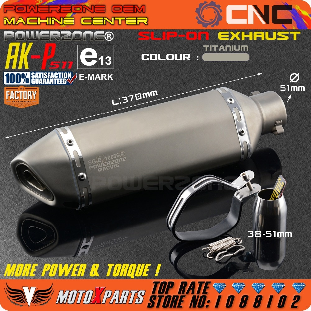 Modificado motocicleta e-mark AK-P511 tubo de escape silenciador universal para cb crb yzf ttr ktm exc r6 ZX-6R ZX-10R gsxr scooter atv