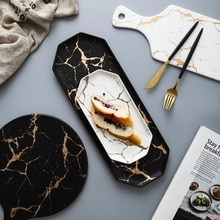 Assiette européenne céramique blanche noire dorée   Service de table à Pizza, Dessert Steak vaisselle en porcelaine, plateau à aliments décoratifs