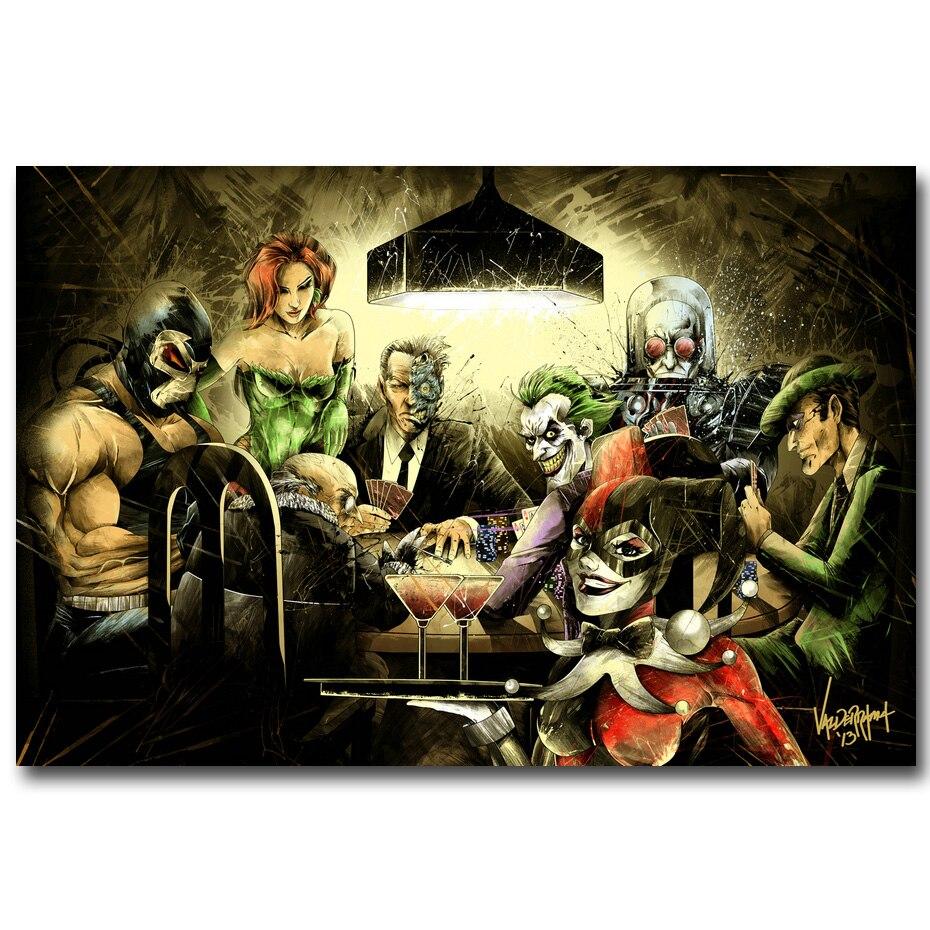 Joker Harley Quinn jugando póker arte seda cartel o lienzo 13x20 24x36 pulgadas Batman Arkham City Game Pictures