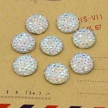 Crystal AB 10,12, 14,16mm Plaksteen Resin Stippelde Ronde Strass Cabochon Edelstenen, plat Hars Strass Voor DIY Decoratie