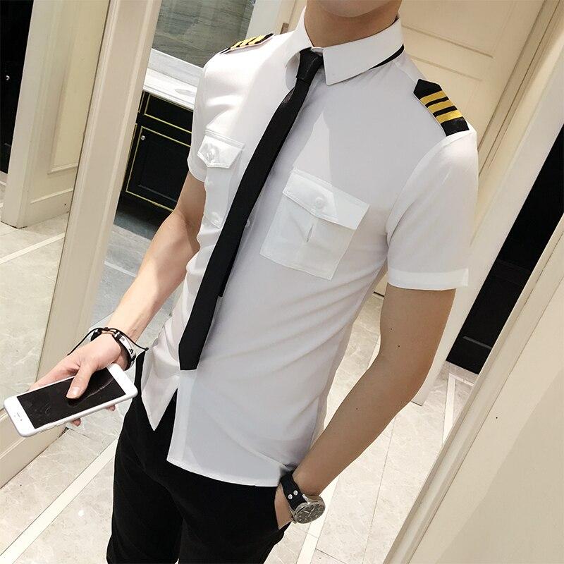 Flight Attendants ropa primavera Camisa de manga corta para hombres verano Slim Fit Casual Mens camisas 6XL-S Camisa Masculina negro/blanco