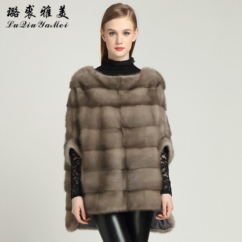 معطف فرو المنك الطبيعي للنساء ، معطف طويل ، نمط منخفض ، فضفاض ، غير رسمي