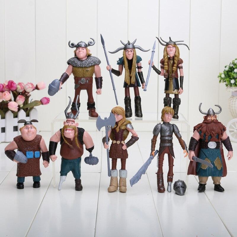 8pcs/set 10-13cm Dragon Figurines PVC Action Figures TRAIN Classic Toys Kids Gift For Children