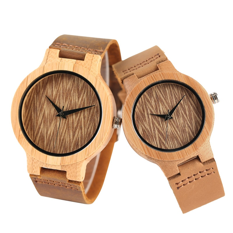 Nature Bamboo Quartz Couple Watches Creative Wave Dial Genuine Leather Band Men Women Wrist Watch New Fashion Lover's Gift wooden couple watch quartz leather band handmade walnut wood watches hollow dial valentine s day lover gift reloj para parej