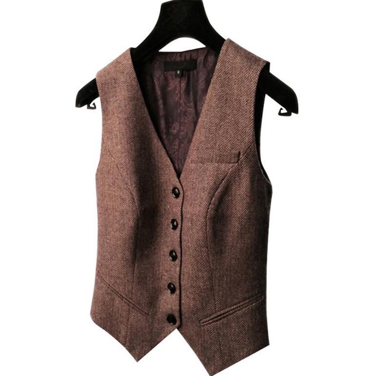 spring new retro suit vest ladies waistcoat short jacket Casual ol Coat women