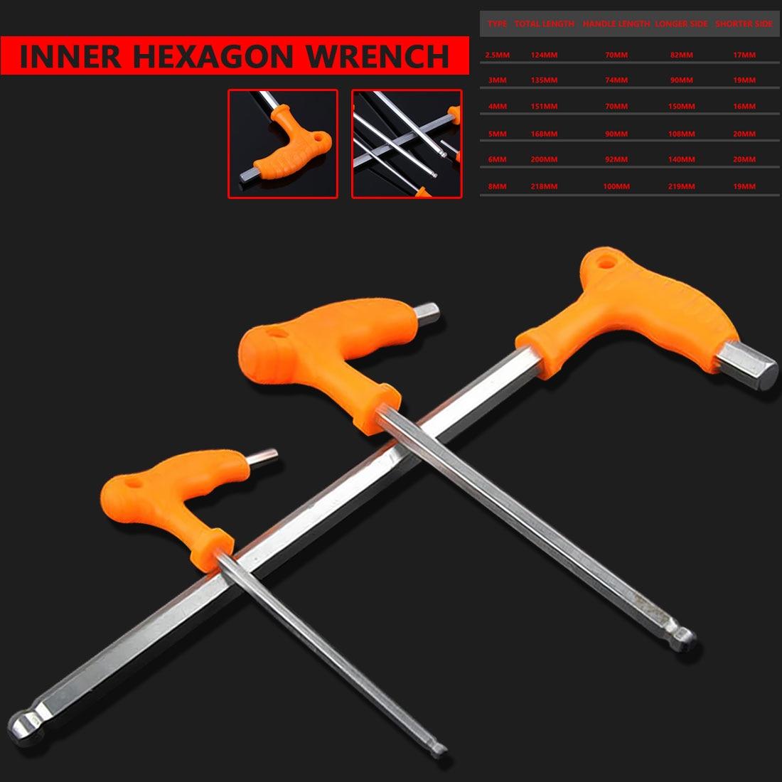 1 pc 2.5/3/4/5/6/8mm alta-aço carbono chave sextavada interna t lidar com allen hex chave chave ferramenta de reparo