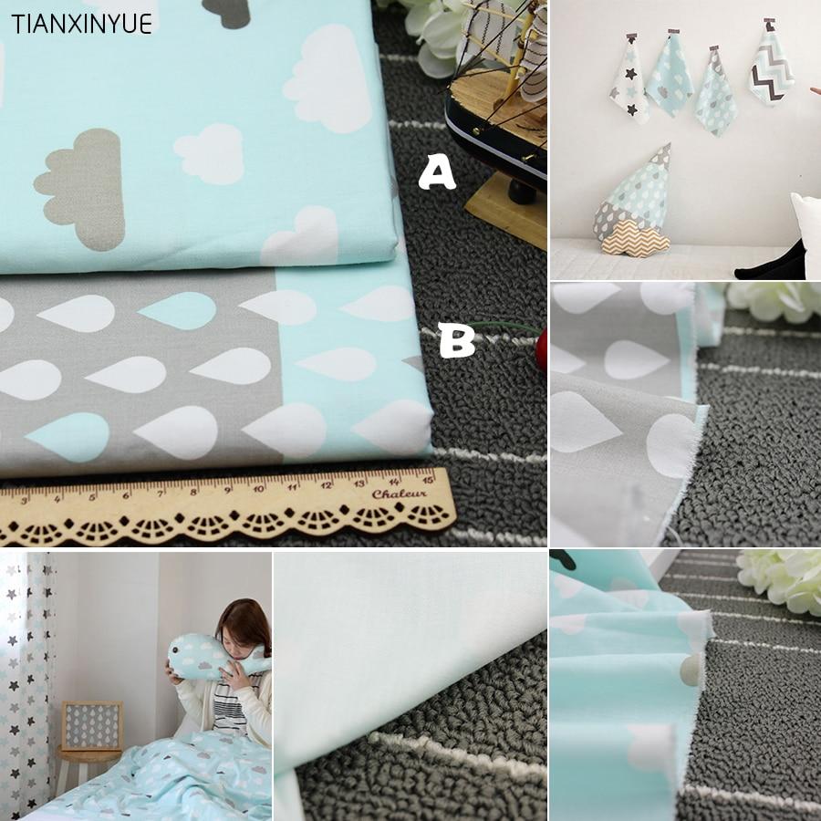 Tela de sarga 100% de algodón TIANXINYUE, tela para NUBES AZULES y gotas de lluvia, almohada DIY para bebé, tela de acolchado de costura de retales