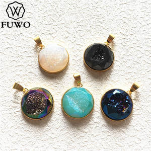 FUWO Natural Titanium Druzy Connector Pendant With Gold Trimmed High Quality Brass Bezel Quartz For Jewelry Making 20mm PD240