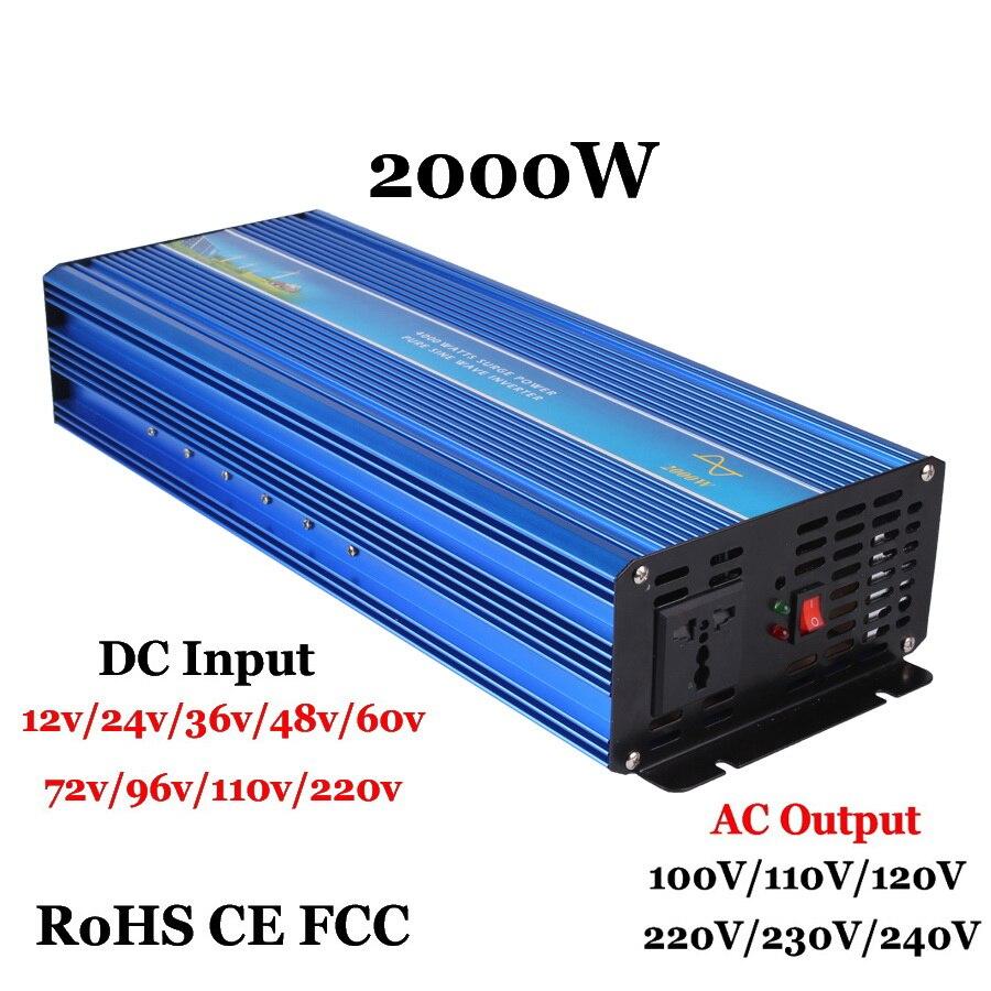 2000 واط خارج الشبكة نقية شرط موجة العاكس ، زيادة الطاقة 4000 واط 60/72/96VDC to110V/220VAC مرحلة واحدة الشمسية أو الرياح عاكس الطاقة
