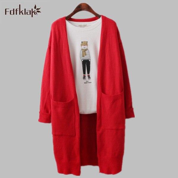 Spring Autumn Korean Wild Loose Knit Cardigan 2016 New Long Cardigan Women Long Sleeve Elongated Sweater Female Black/Gray E0548