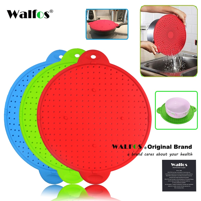 WALFOS 3 in 1 Splatter Screen Splatter Guard Kitchen Strainer Trivet Pot Lid Pan Cover Silicone Lid Spill Stopper Wash Strainer