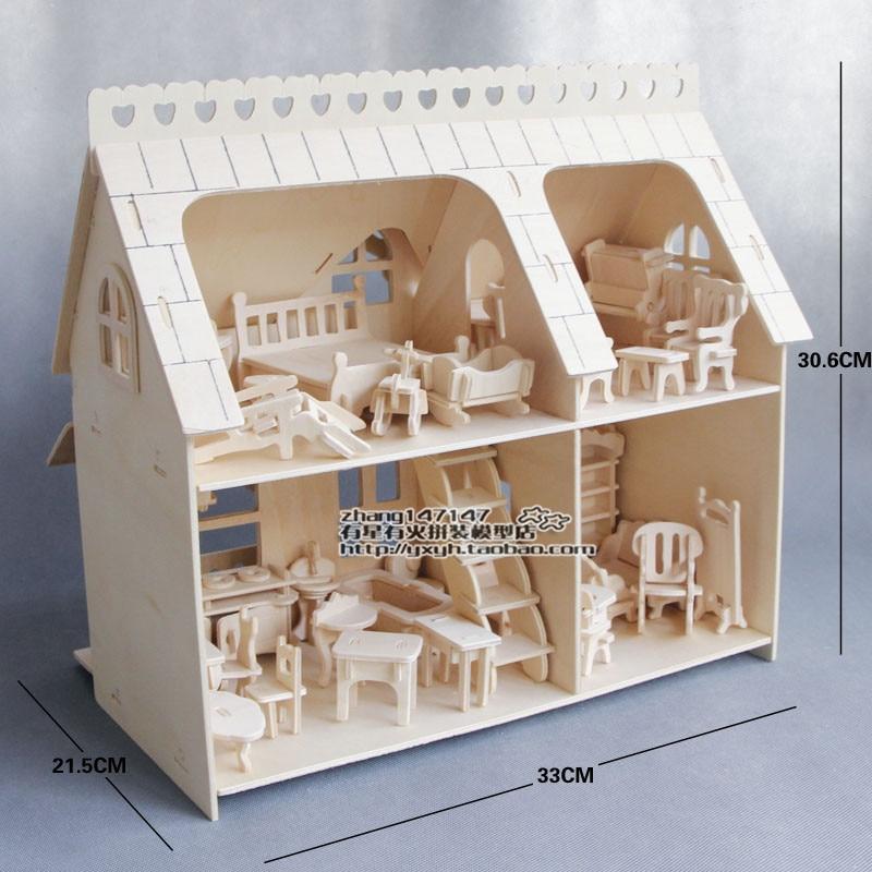 خشبية الجمعية مصغرة دمية للدمى مصغرة الأثاث مجموعات DIY بيت الدمية مسرحية لغز لعب للأطفال الفتيات طفل