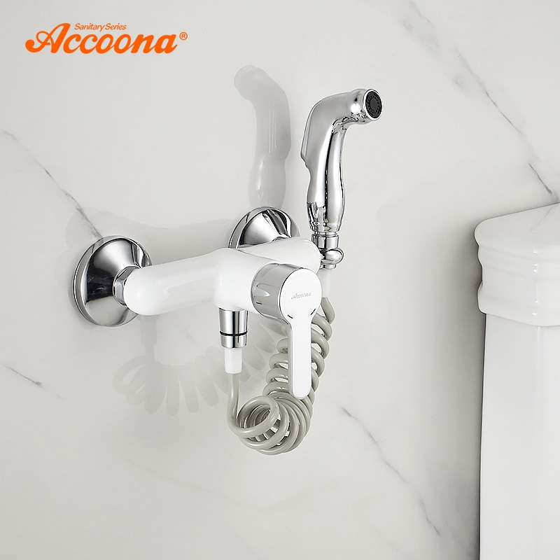Accoona grifo de bidé inodoro blanco Cleaner Set ducha spray para bidet pulverizador para baño grifos ducha montada en la pared bidés A3167G