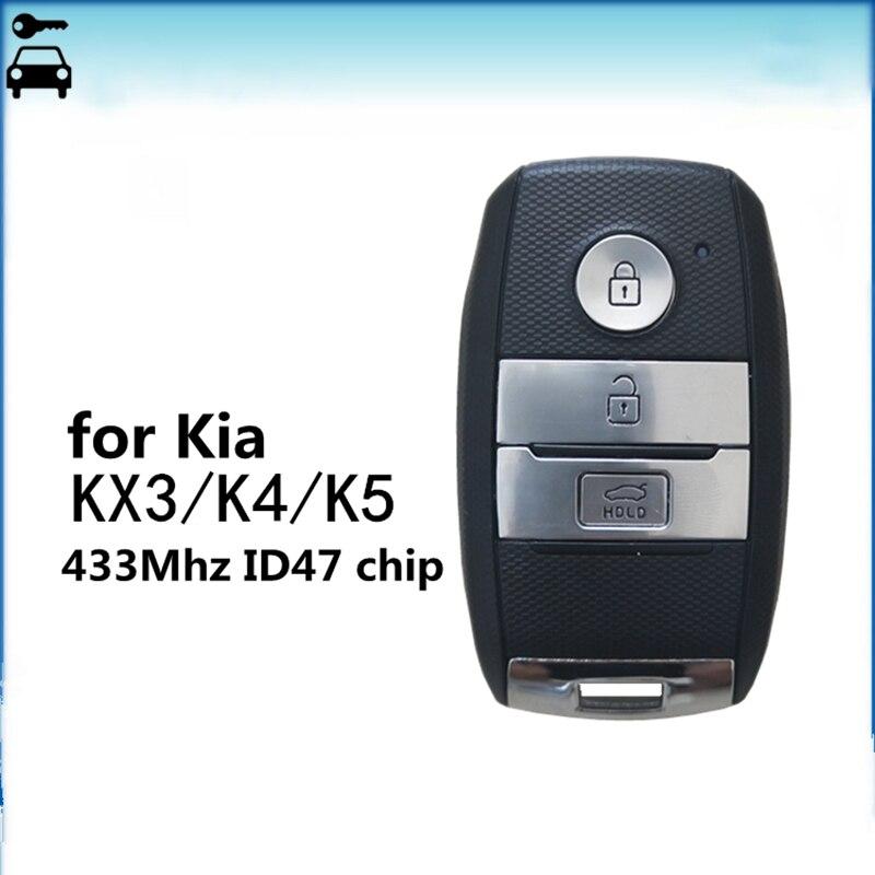 Tamanho original do carro inteligente remoto chave terno para kia k5 k4 kx3 sportage sorento rio após 2016 ano com id47 chip 433 mhz freqüência