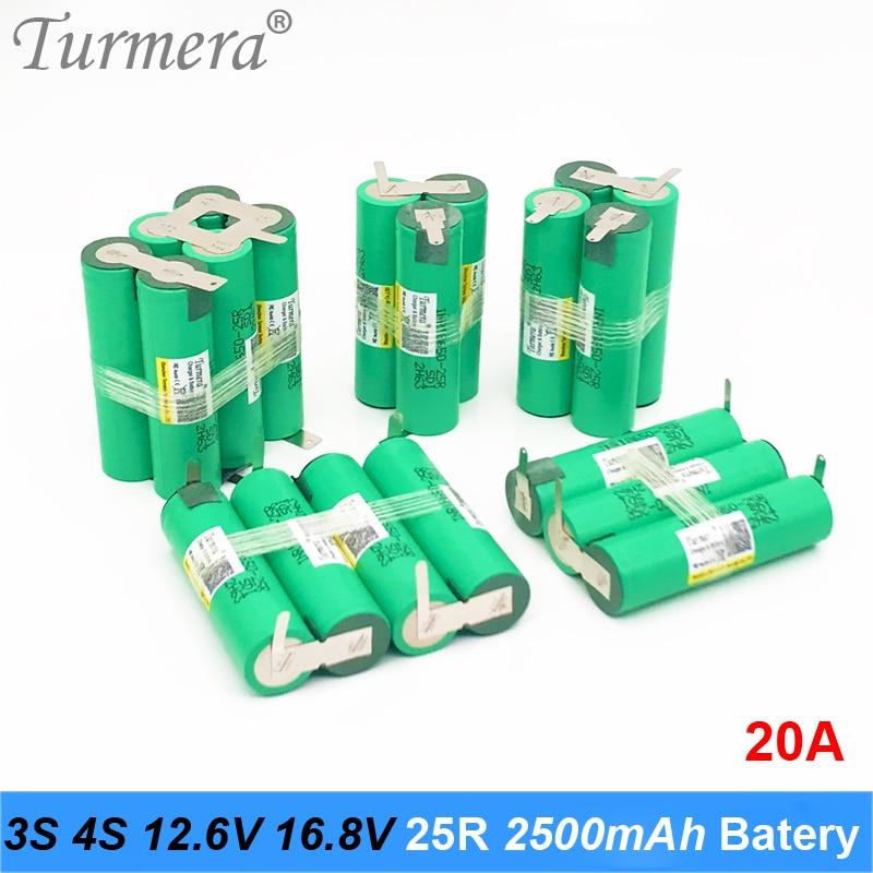3 S 12.6 V 4 S 16.8 V Pil Paketi 18650 25R 2500 mah 20A Deşarj Akımı shura tornavida pil (özelleştirmek)
