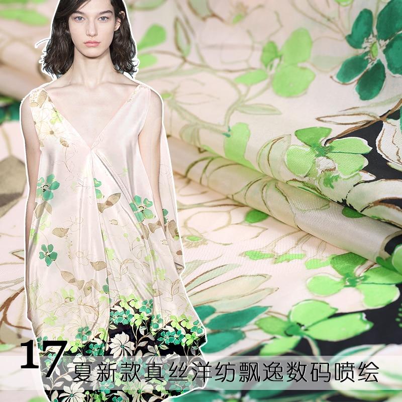 2017, seda de verano ligera, telas de impresión de seda digital, hierba verde, seda de morera, hilado potente, tela elegante