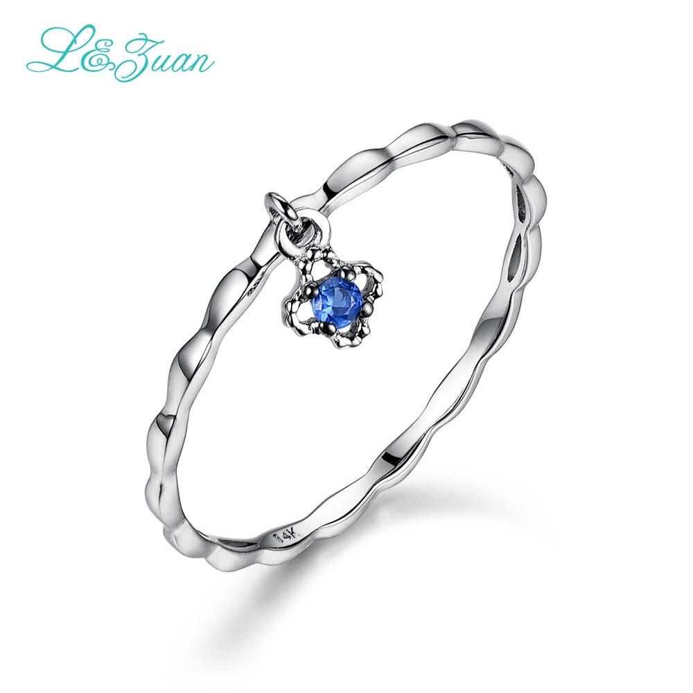 L & zuan 14 k ouro branco natural pequeno azul pedra safira flor na moda anéis de festa para as mulheres jóias finas 0012-1