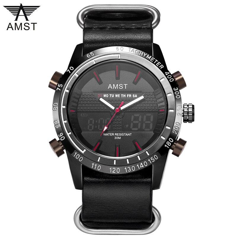Male Fashion Sport Military Wristwatches 2018 New AMST Watches Men Luxury Brand waterproof LED Digital Analog Quartz Watches