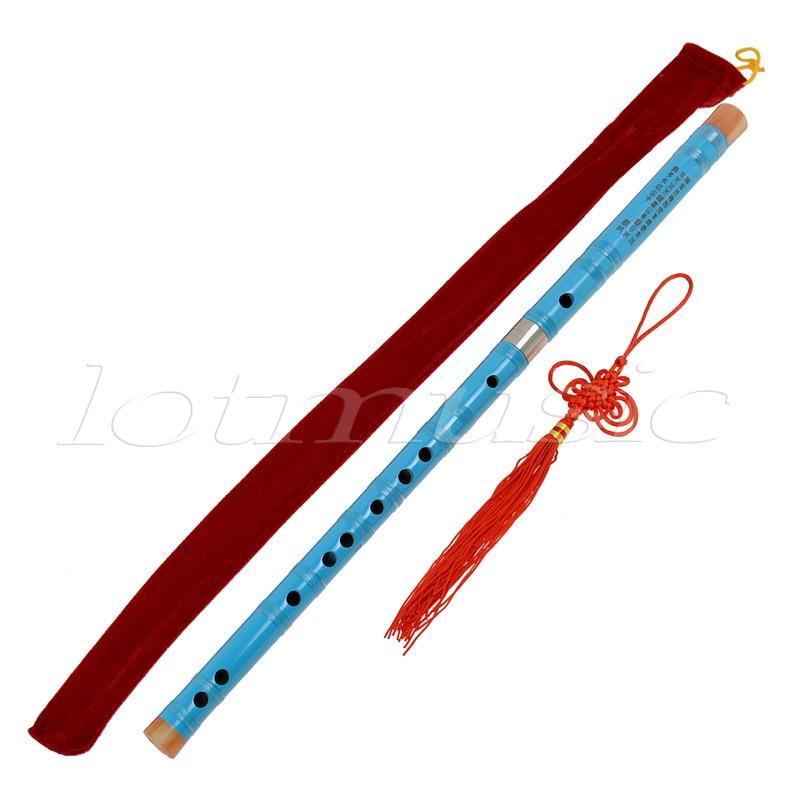 Kmise Blue Paint Traditional Chinese Bamboo Flute Dizi Pluggable F Key Musical Instrument enlarge