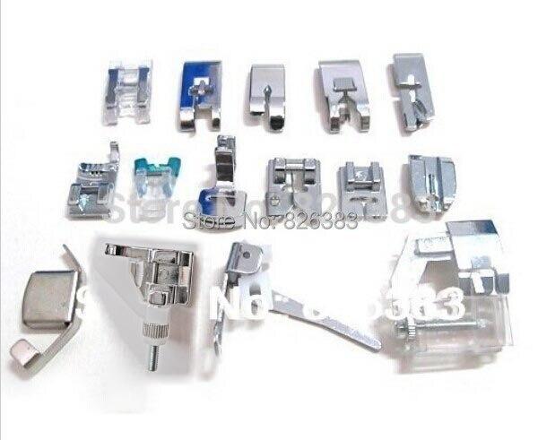 Calidad Original set 15 piezas hogar máquina de coser prensado pie para Brother Janome Toyota Singer