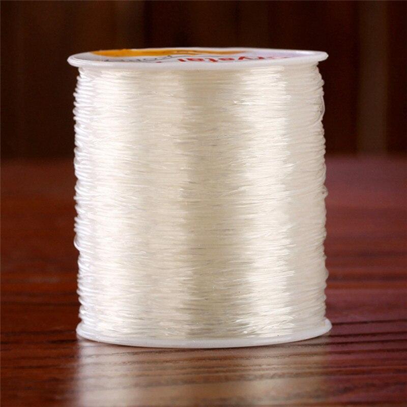 10 pçs diy 0.8mm 100 metro claro estiramento elástico miçangas corda fio carretel rolo doméstico transparente linha elástica