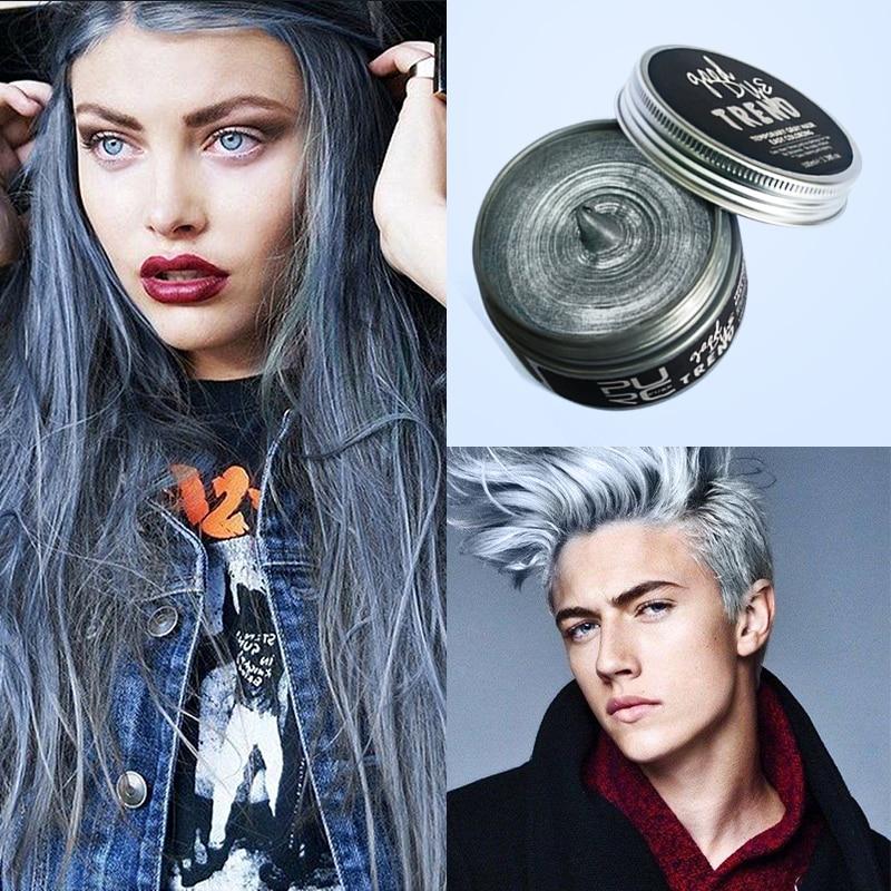 PURC instantáneo, cera de pomada de Color para cabello, gris, rojo, plata, cera de Fresno, Color de pelo cera, barro, crema de tinte de modelado desechable, fácil de lavable