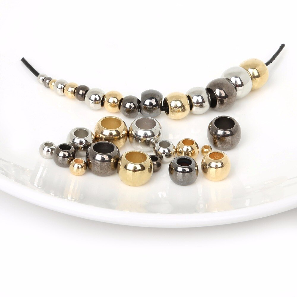 CCB круглые бусины золотистого/родиевого/золотистого цвета с большим отверстием, акриловые бусины-разделители, подходят к браслету-Шарму DIY, ювелирное изделие