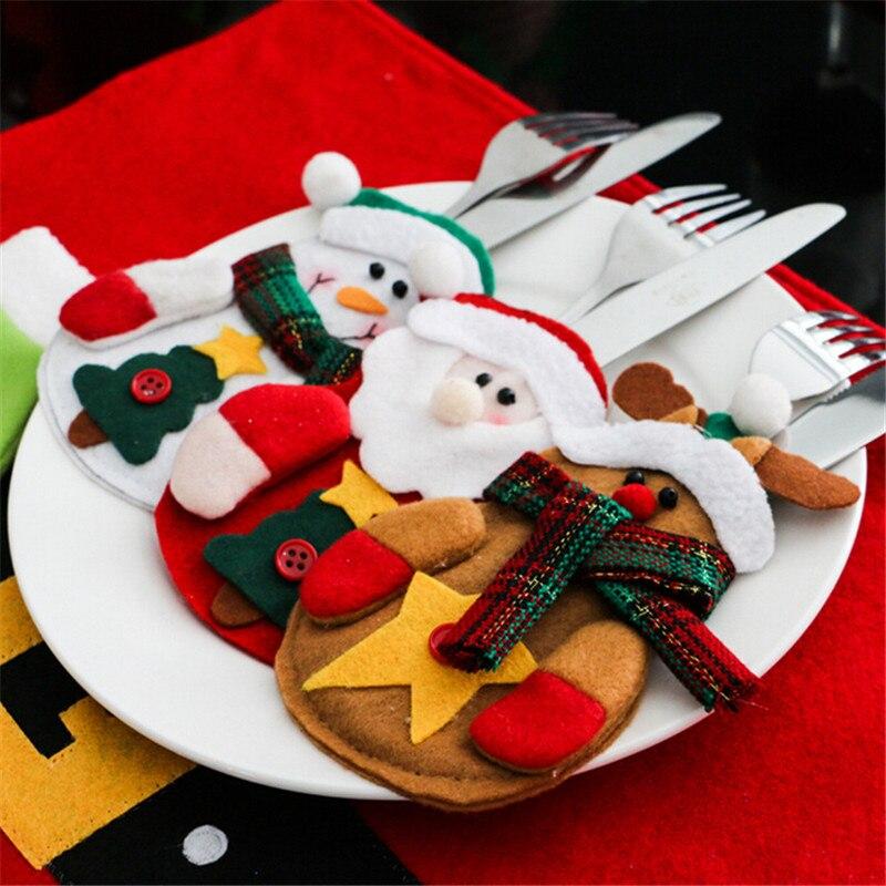 Рождественский Декор для дома, настольный декор для ужина, 6 шт., набор ножей, ножей, держатель для сумки, карманов, Рождество, Новый Год, 2019