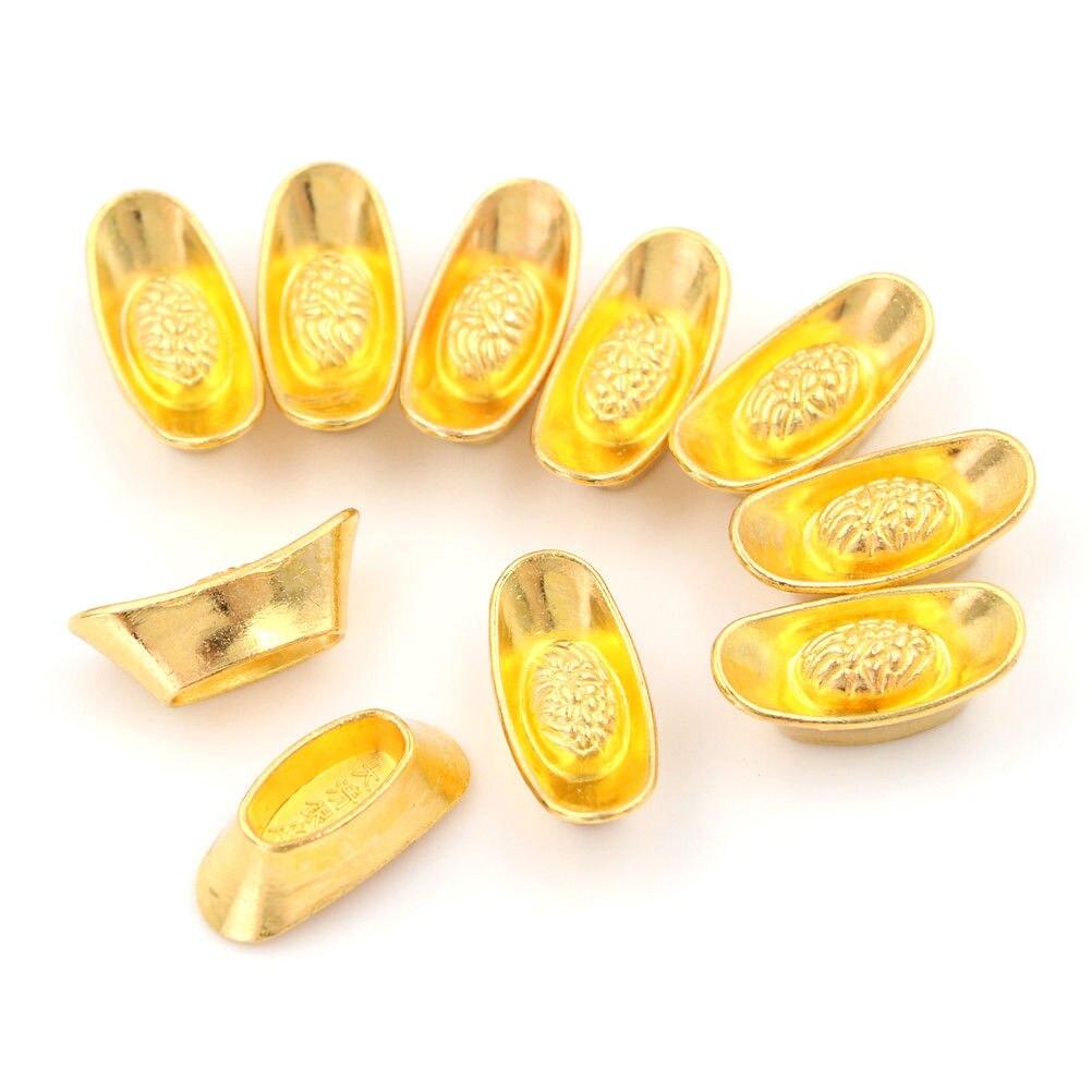 10 шт./компл. фэн шуй благоприятный талисман Lucky Money металлические поделки золотые слитки украшения