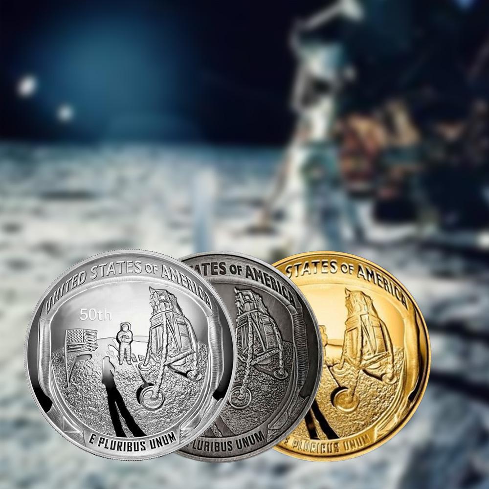 2019 us 50th aniversário apollo 11 lua pouso prata banhado a ouro moeda comemorativa novidade moeda