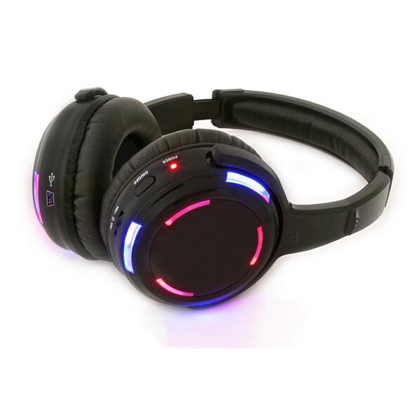 profissional led piscando luz de discoteca silenciosa fones de ouvido sem fio rf