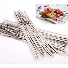 Doreenperles bâtonnets de Barbecue   Qualité alimentaire de qualité supérieure, en acier inoxydable, Barbecue bâton plat, Shish Kebab, accessoires 33 cm, 2 pièces