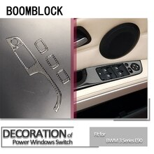 4 шт./компл., отделка салона автомобиля из углеродного волокна, оконный переключатель, Накладка для bmw e90 LHD 2005-2012, аксессуары 3 серии