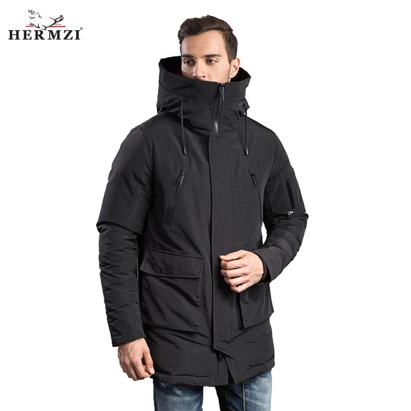 HERMZI 2020 Winter Men Jacket Fashion Mens Winter Cotton Padded Coat Parkas Hooded Padded Long Coat European Size Free Shipping