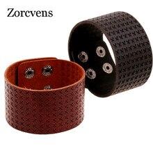ZORCVENS-Bracelets en cuir véritable tressé croisé, Cool, brun et noir, Punk, large poignet, bijou pour hommes, Bracelets pour femme