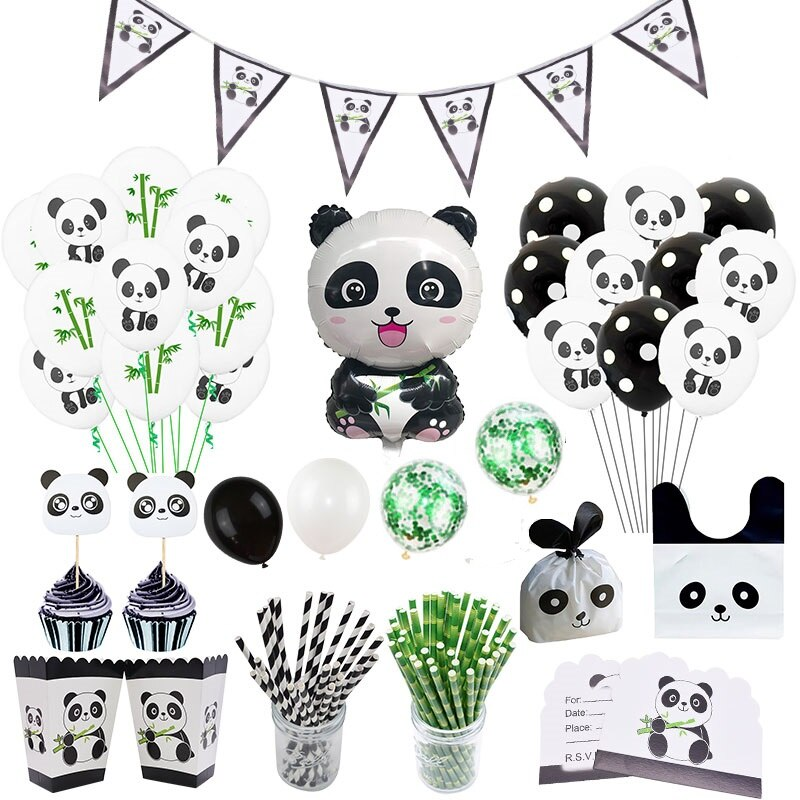 Suministros de decoración para fiesta de Panda, globos de helio bonitos, Banner DIY para Festival, accesorios de cumpleaños, recuerdo de Baby Shower, juguetes para niños