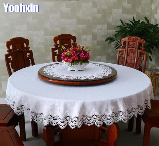 Modern lace satin white Tablecloth embroidery dining New Year 2021 Table Cover cloth placemat Christmas party Wedding decor