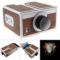 Bricolage 3D carton Mini Smartphone projecteur nouveaute reglable telephone Portable projecteur carte conseil Portable cinema dans une boite