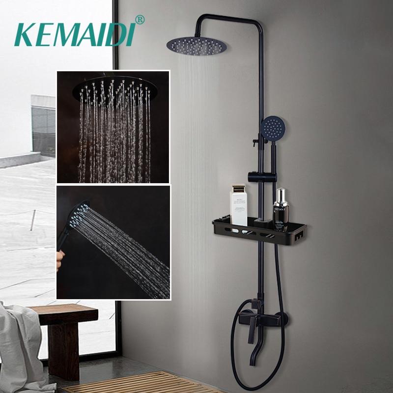Kemaidi chuveiro do banheiro torneira misturadora preto chuvas chuveiro torneiras definir única alavanca banheira misturador do chuveiro com prateleira de armazenamento
