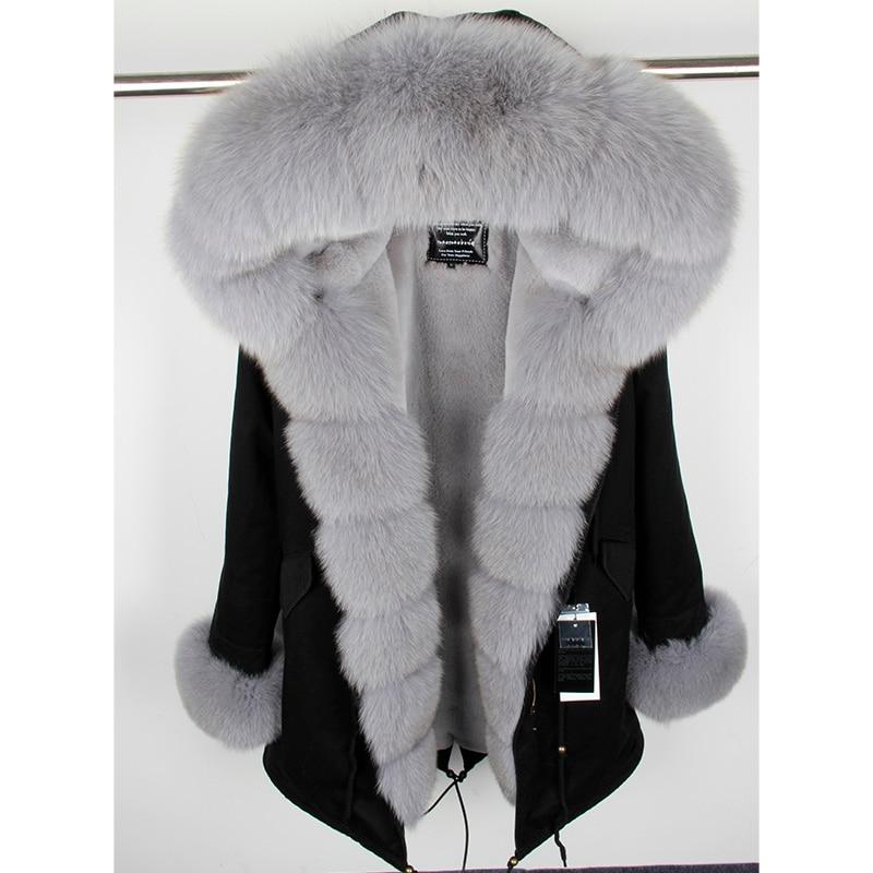 Куртка MaoMaoKongNatural из натурального Лисьего меха с капюшоном, черные женские парки, зимнее теплое пальто, женские парки, Женская куртка