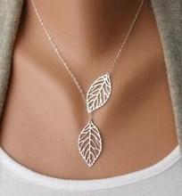 Mode coréenne tendance sauvage à base de forêt en métal feuille pendentif collier clavicule section courte de double-feuille bijoux livraison gratuite