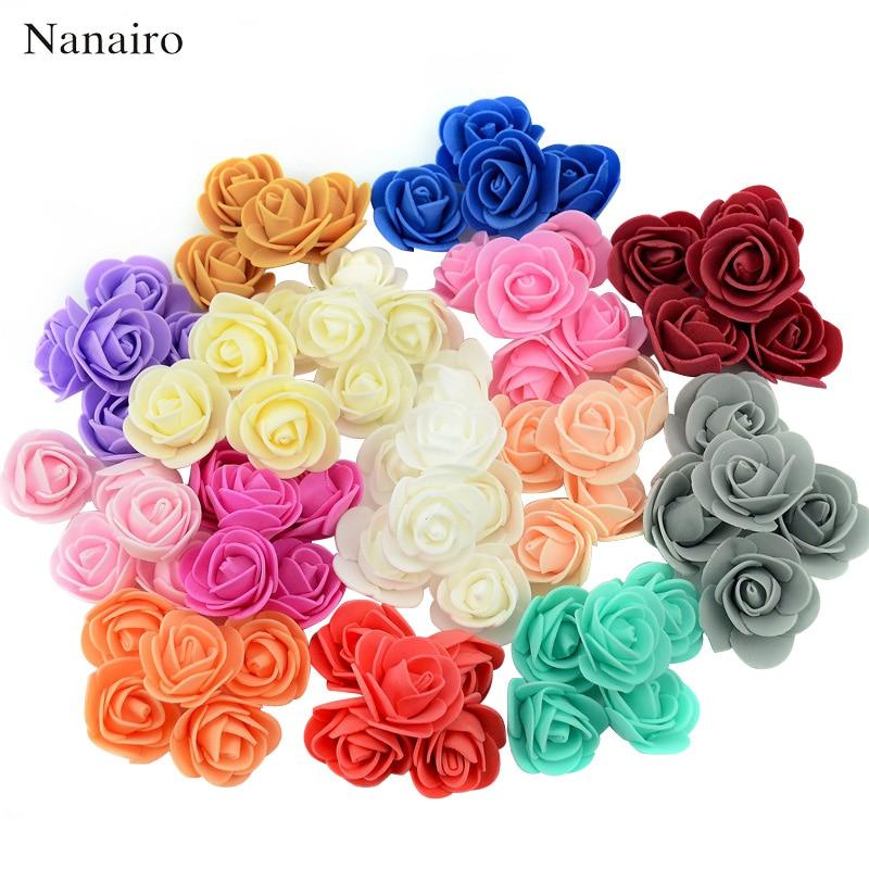 100pcs 3.0cm Mini Artificial Flower PE Foam Rose Head Handmade DIY Wedding Home Decoration Party Wall Supplies Wreath Craft недорого