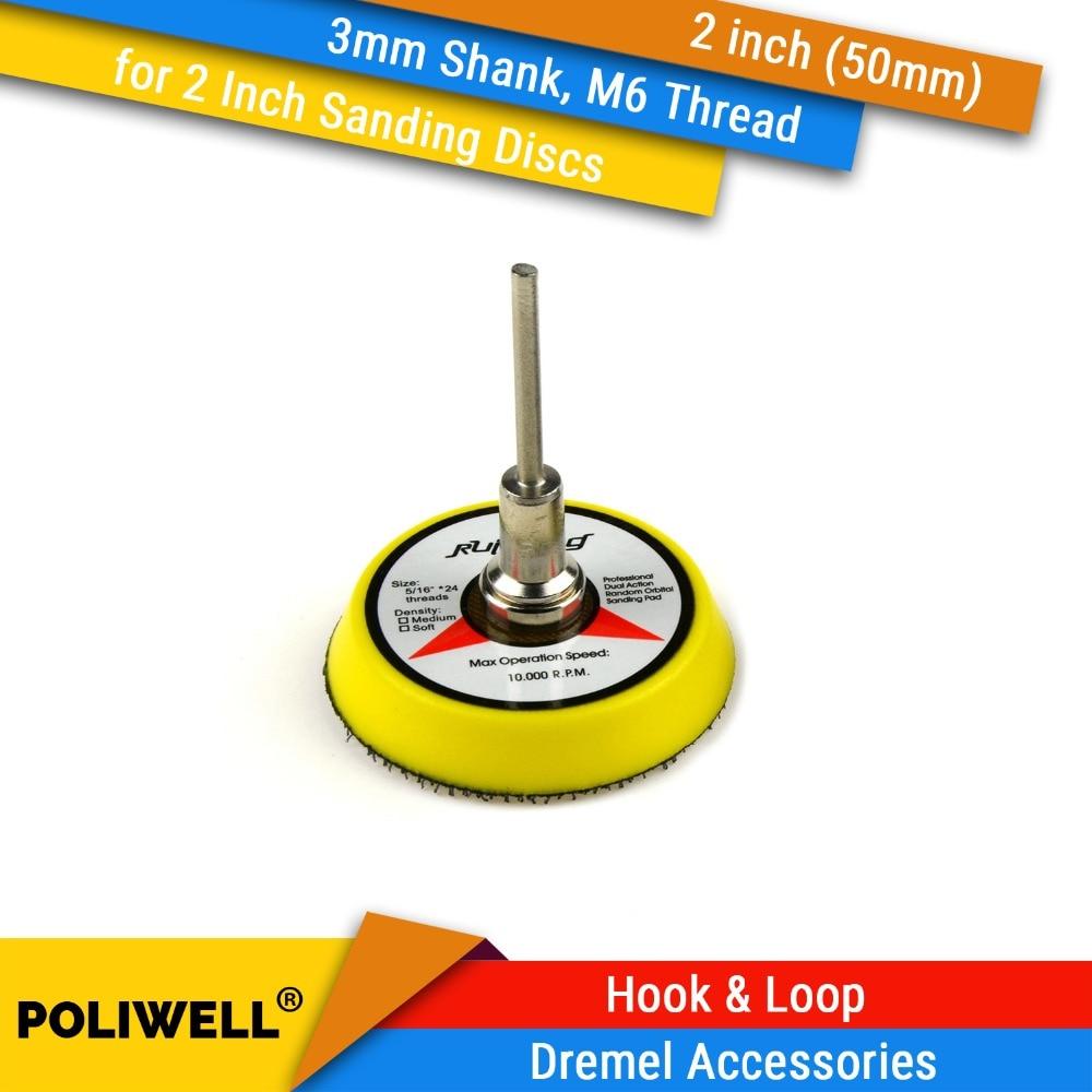 2 Inch(50mm) Back-up Sanding Pad 3mm Shank M6/M8 Thread for Hook&Loop Sanding Discs for Random Orbital Power Tools Accessories