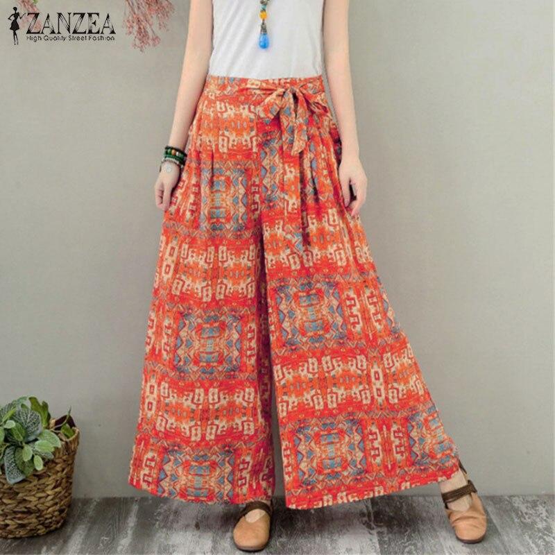 ZANZEA mujeres bohemio Floral impreso amplia pierna pantalones de otoño pantalones de cintura elástica corbata Bengala Pantalon 5XL Pantalones Casual