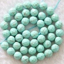 Mooie taiwan groen turquoise hot koop facet ronde jasper 8mm charmant gems losse kralen sieraden maken 15 inch B1087