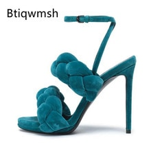 2019 luxe velours armure gladiateur sandales femmes Peep orteil bride à la cheville 10cm chaussures à talons hauts femme Sexy chaussures de fête