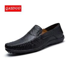 QASDUO Italiaanse Heren Schoenen Casual Merken Mannen Loafers Luxe Mocassins Comfy Ademend Slip Op Boot Schoenen Mannen grote maten 47