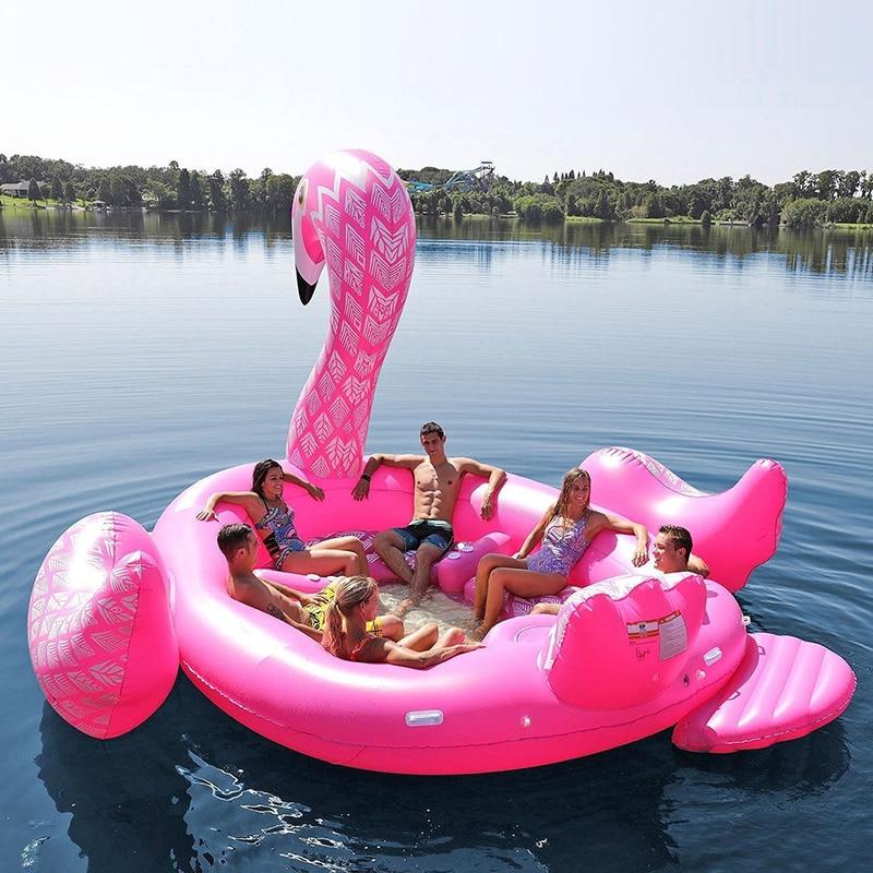 6 Person Riesen Aufblasbare Flamingo Pool Float Schwimmen Insel Pfau Schwimm Boot Erwachsene Strand Party Wasser Spielzeug Luft Matratzen Swimming Rings Aliexpress