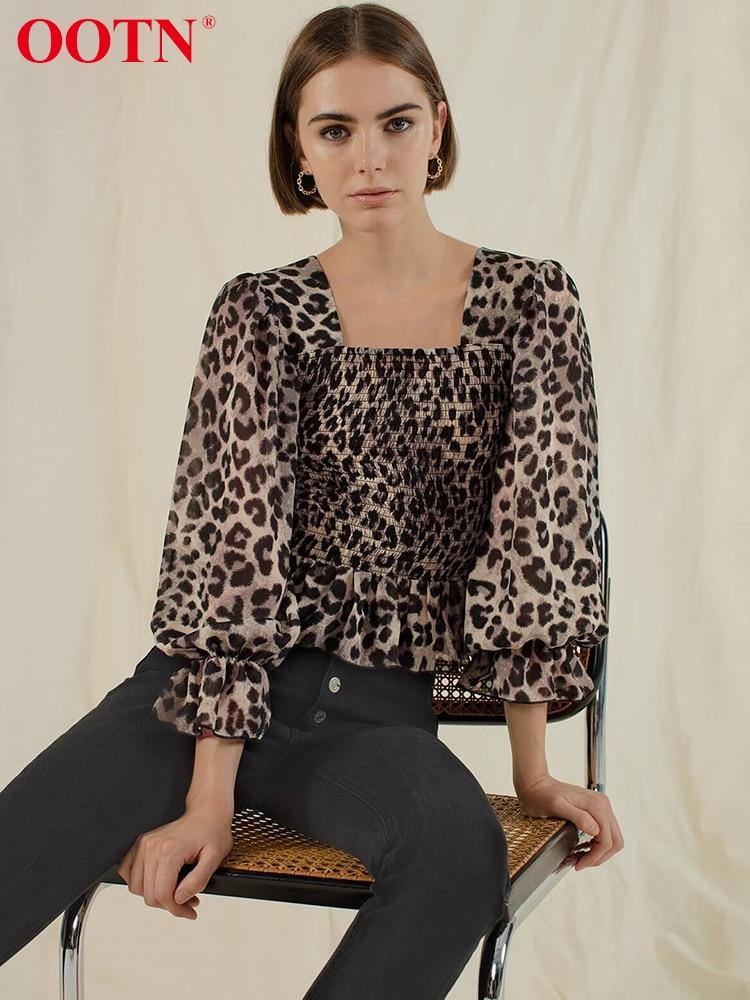 OOTN Ruffle Elastic Leopard Blouse Women Shirts Lantern Long Sleeve Square Collar Tunic Animal Print Top Peplum 2019 Vintage plus allover bird print ruffle sleeve top