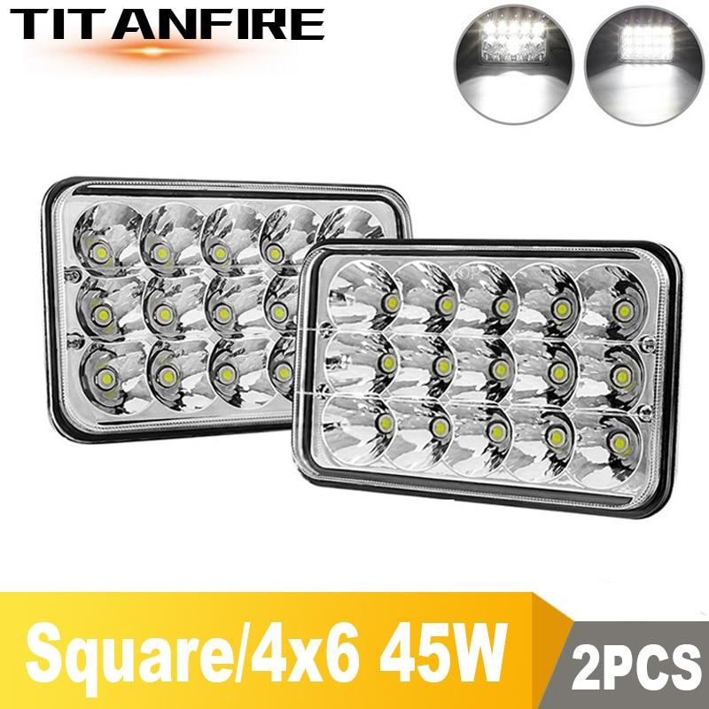 Tf30 4x6 led caminhão faróis lâmpadas kit de conversão oi/baixo selado feixe luz 45 w 5000lm kenworth substituir 6500k